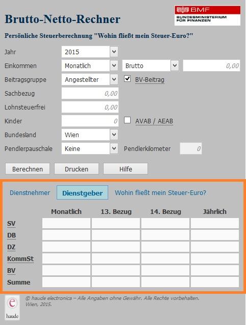 """Screenshot Brutto Netto Rechner mit aktivem Tab """"Dienstgeber"""""""