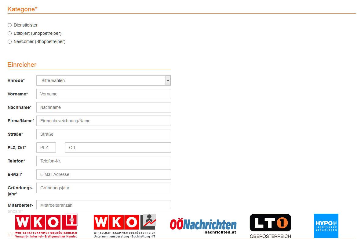 Einreichung OÖ Online Award - Abschnitt Kategorien + Allgemeines