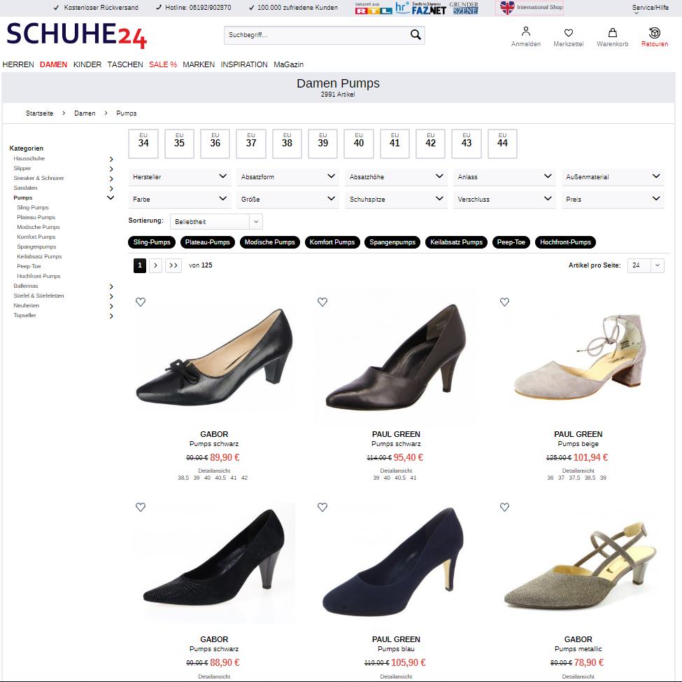 Kategorieseite schuhe24