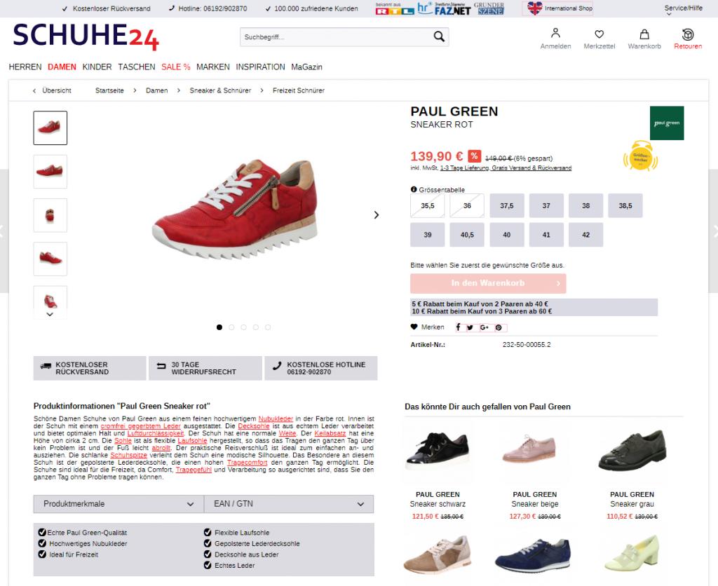 Produktdetailseite schuhe24